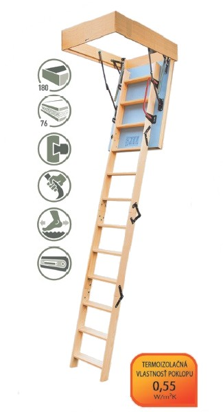 Radex Extreme podkrovné schody 100x60 cm 4-segmentové